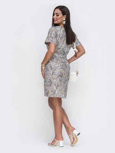 Бежевое платье батал прямого кроя с цветочным принтом 49658, фото 2