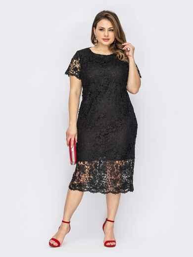 Черное платье батал из гипюра двухслойное 53825, фото 1