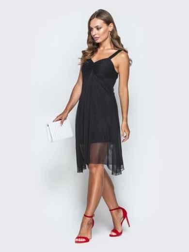 Черное платье с драпированным лифом и фатином 38684, фото 2