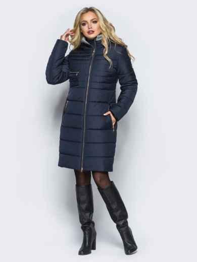 Зимняя куртка с искусственной овчиной на капюшоне тёмно-синяя 16697, фото 1