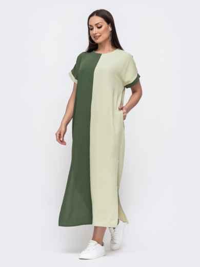 Комбинированное платье батал прямого кроя хаки 46046, фото 2