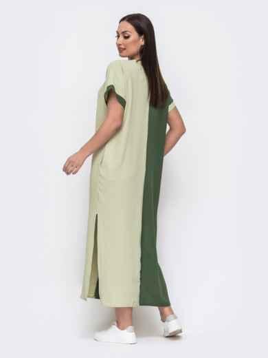 Комбинированное платье батал прямого кроя хаки 46046, фото 3