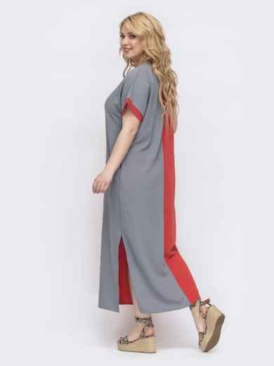 Комбинированное платье батал прямого кроя терракотовое 46047, фото 2