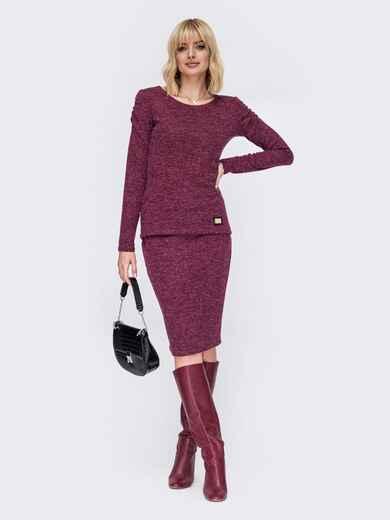 Костюм бордового цвета из кофты с блузкой 52762, фото 1