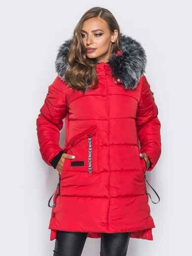 Красная куртка со съемным мехом на капюшоне 16705, фото 1