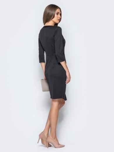 Платье черного цвета с ложным запахом и кружевом на полочке - 17106, фото 3 – интернет-магазин Dressa
