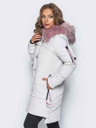 Светло-серая куртка со съемным мехом на капюшоне - 16706, фото 2 – интернет-магазин Dressa