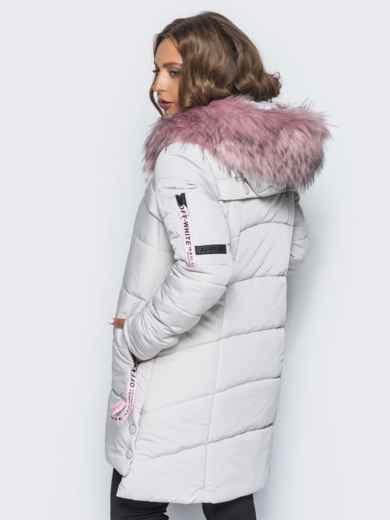 Светло-серая куртка со съемным мехом на капюшоне - 16706, фото 3 – интернет-магазин Dressa