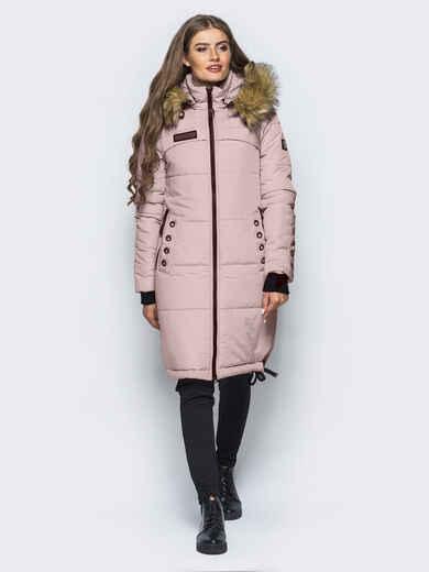 Удлиненная куртка с люверсами на карманах и рукавах молочного цвета 16709, фото 1