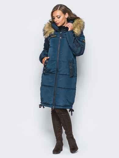 Удлиненная куртка с люверсами на карманах и рукавах тёмно-синяя 16707, фото 1