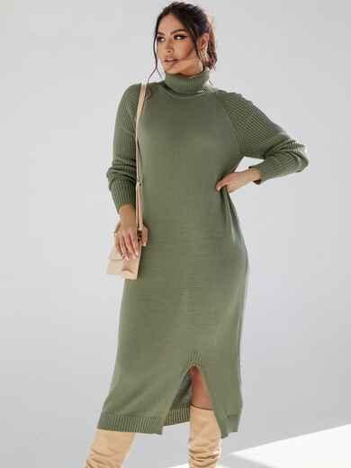Зеленое платье большого размера мелкой вязки 53339, фото 1