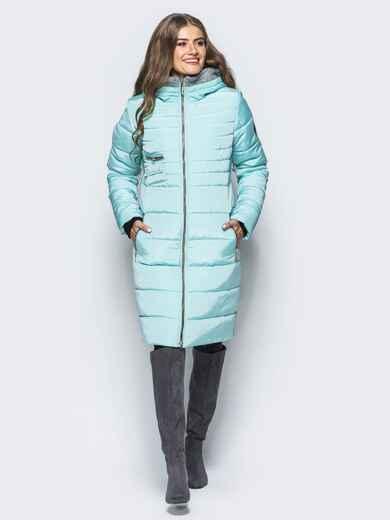 Зимняя куртка с искусственной овчиной на капюшоне голубая 16699, фото 1