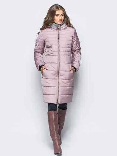 Зимняя куртка с искусственной овчиной на капюшоне пепельно-розовая - 16698, фото 1 – интернет-магазин Dressa