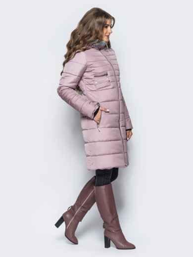 Зимняя куртка с искусственной овчиной на капюшоне пепельно-розовая - 16698, фото 2 – интернет-магазин Dressa