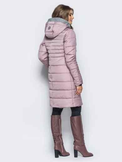 Зимняя куртка с искусственной овчиной на капюшоне пепельно-розовая - 16698, фото 3 – интернет-магазин Dressa
