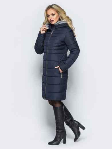 Зимняя куртка с искусственной овчиной на капюшоне тёмно-синяя - 16697, фото 2 – интернет-магазин Dressa