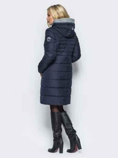 Зимняя куртка с искусственной овчиной на капюшоне тёмно-синяя - 16697, фото 3 – интернет-магазин Dressa