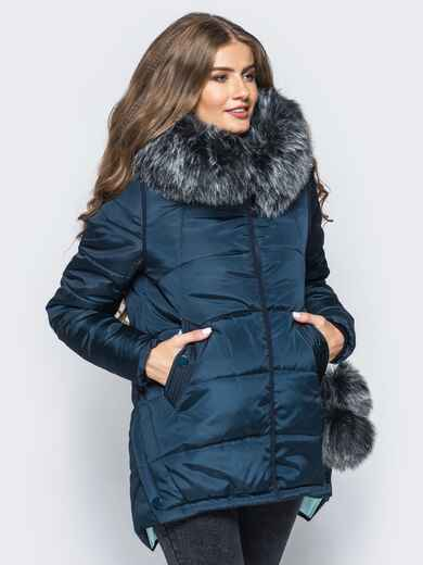 Зимняя куртка тёмно-синего цвета с мехом на капюшоне 16694, фото 1