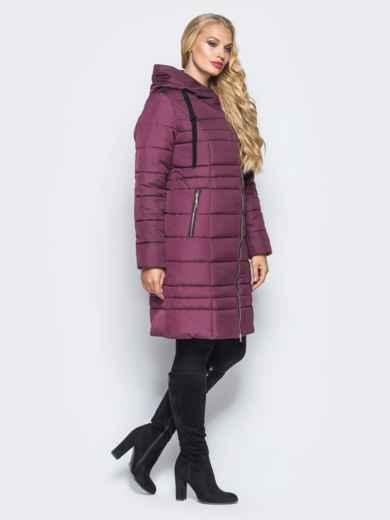 Зимняя удлиненная куртка с вшитым капюшоном бордовая - 16701, фото 2 – интернет-магазин Dressa
