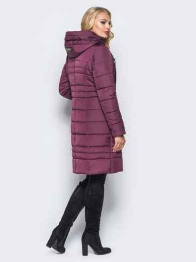 Зимняя удлиненная куртка с вшитым капюшоном бордовая - 16701, фото 3 – интернет-магазин Dressa