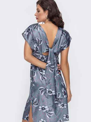 Атласное платье с принтом и вырезом по спинке серое 51702, фото 1
