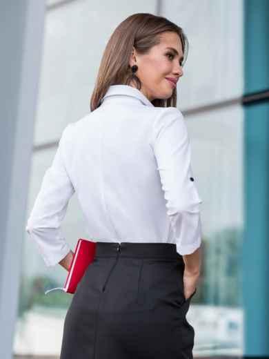 Белая блузка с кружевной кокеткой - 39958, фото 2 – интернет-магазин Dressa