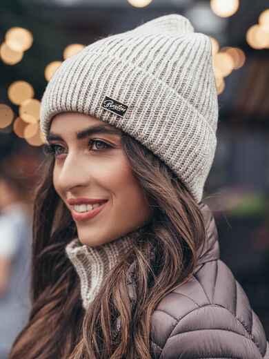 Бежевая шапка-колпак с напылением - 15506, фото 3 – интернет-магазин Dressa