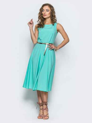 Бирюзовое полуприталенное платье с поясом - 12677, фото 1 – интернет-магазин Dressa
