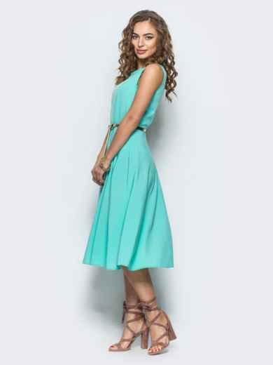 Бирюзовое полуприталенное платье с поясом - 12677, фото 2 – интернет-магазин Dressa