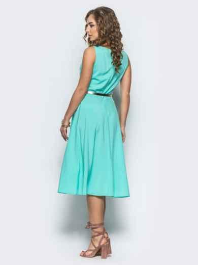 Бирюзовое полуприталенное платье с поясом - 12677, фото 3 – интернет-магазин Dressa