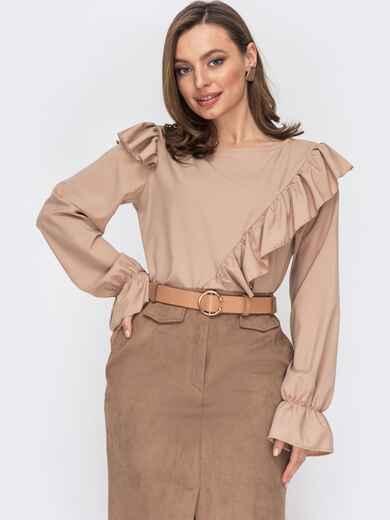 Блузка из софта с рюшами по полочке бежевая 53297, фото 1