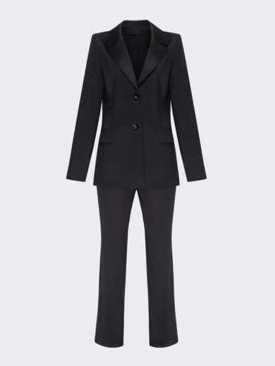Брючный костюм из атласа чёрного цвета с жакетом 51705, фото 5