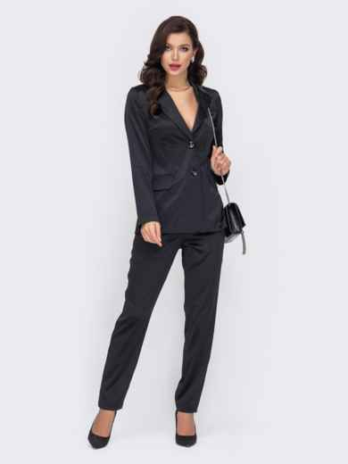 Брючный костюм из атласа чёрного цвета с жакетом 51705, фото 1