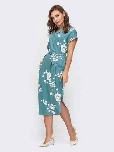 Голубое платье с принтом и разрезами по бокам - 45917, фото 1 – интернет-магазин Dressa