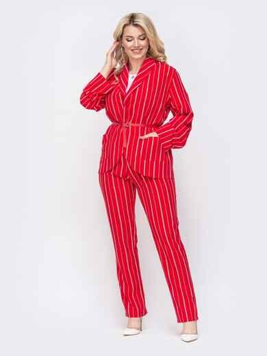 Комплект большого размера в полоску из жакета и брюк красный 50014, фото 1