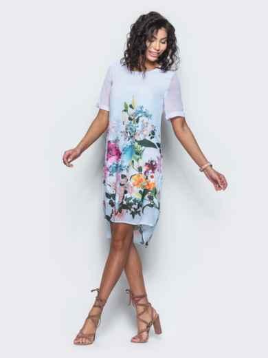 Платье из шифона с принтом - 11642, фото 2 – интернет-магазин Dressa