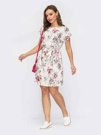 Платье с принтом и резинкой в поясе белое 53708, фото 1