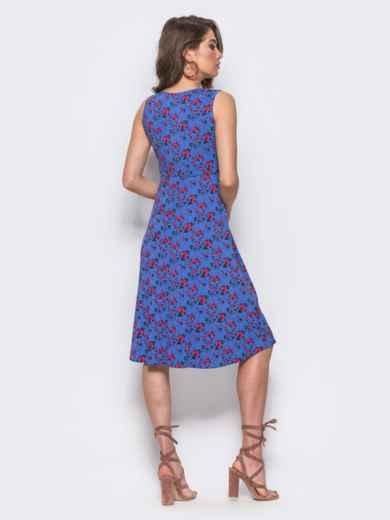Платье с завязками на талии с флористическим принтом фиолетовое - 11587, фото 2 – интернет-магазин Dressa