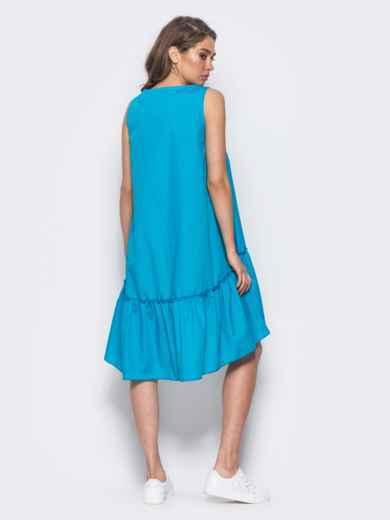 Платье-трапеция с широкой оборкой и нашивкой на полочке голубое - 11580, фото 2 – интернет-магазин Dressa