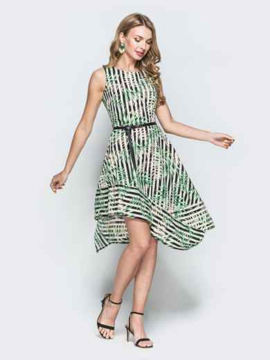 Приталенное платье с принтом и асимметричным низом зеленое 38393, фото 1