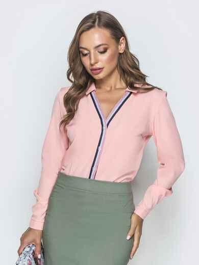 Пудровая блузка с контрастной окантовкой 39957, фото 1