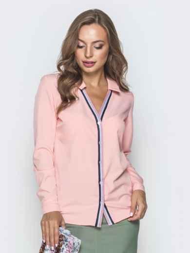 Пудровая блузка с контрастной окантовкой 39957, фото 2