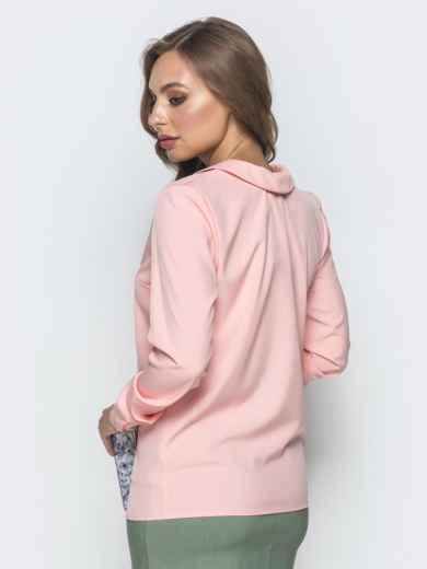Пудровая блузка с контрастной окантовкой 39957, фото 3