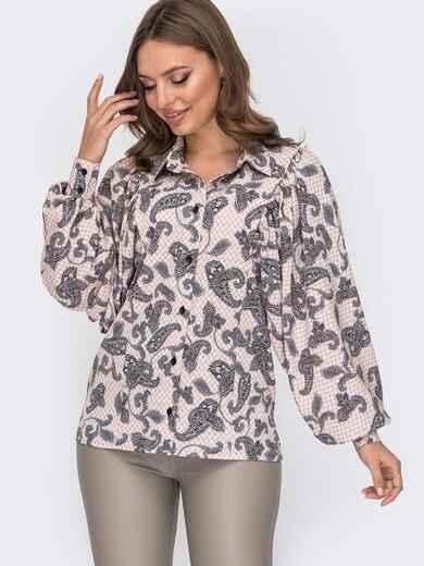 Пудровая блузка с принтом и объемными рукавами 51698, фото 1