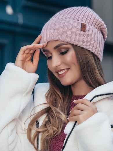 Пудровая шапка на флисе с подворотом 40528, фото 1