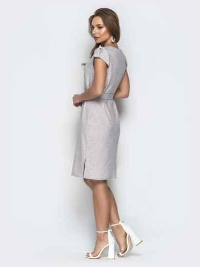 """Серое платье приталенного кроя с рукавом """"крылышко"""" 20614, фото 3"""