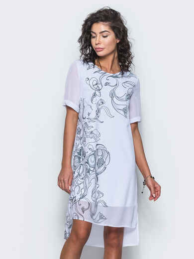 Шифоновое платье прямого кроя с принтом белое - 12678, фото 3 – интернет-магазин Dressa