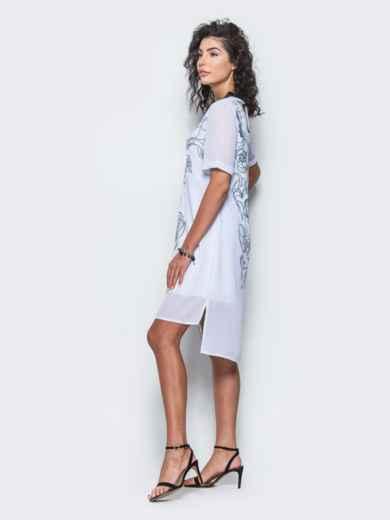 Шифоновое платье прямого кроя с принтом белое - 12678, фото 4 – интернет-магазин Dressa