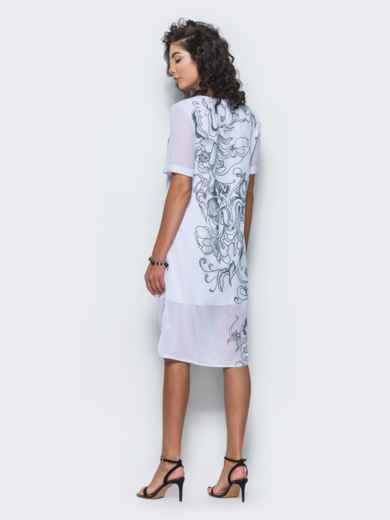 Шифоновое платье прямого кроя с принтом белое - 12678, фото 5 – интернет-магазин Dressa