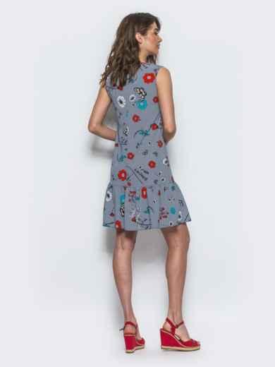Синее принтованое платье с оборкой по низу - 13399, фото 2 – интернет-магазин Dressa